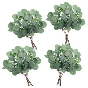 Artificial Seeded Eucalyptus Leaves Stems Faux Dollar Plant Fake Branch Decorative Flowers & Wreaths