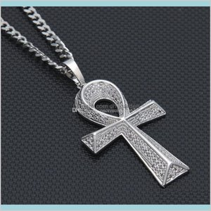 Necklaces Pendants Drop Delivery 2021 Iced Out Zircon Ankh Golden Jewelry Cz Cross Egyptian Key Of Life Pendant Hip Hop Necklace For Men Wome
