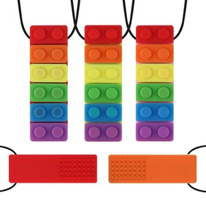 Free DHL INS 7 Colors Baby Soothers Rainbow Blocks Chew Necklace Silicone Teething Pendant Food Grade for Autism Kids Mom