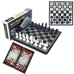 Puzzle card board games three in one portable folding board magnetic medium chess and checkers