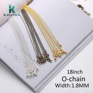 10pcs Lot 1.5mm Silver Gold Bronze Thin Cross Link Chain Fine chain 18inch Womens Silver