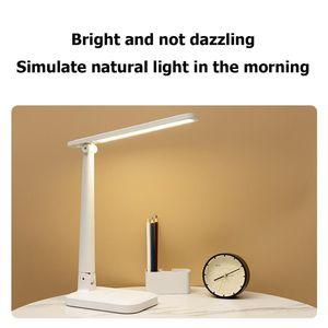 Table Lamps Folding USB LED Desk Lamp Pen Storage Holder Eye Protection Reading Light For Students Night Living Room Bedroom Home
