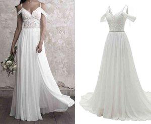 Shoulder Edge Wedding Off Gown V-neck Backless Plus Size Chiffon Kralen Destination Bridal Jurk Boho Beach 1336 Real Photo