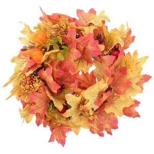 Decorative Flowers & Wreaths 1Pc Adorable Wreath Thanksgiving Emulation Garland Chic Decor (Orange)