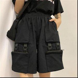 Womens Short NiceMix harajuku cargo trousers black Above Knee Length shorts high waist loose casual wide leg bike female