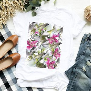 Womens Tops Women Lady Elegant Fashion Short Sleeve Clothing Floral Ladies T Tee Female Top Shirt Clothes Graphic