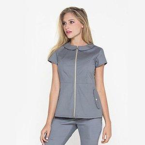 스크럽 여성 미용 살롱 작업 유니폼은 짧은 소매 스파 작업 착용 착용 착용 지퍼 양복 여성의 두 조각 바지