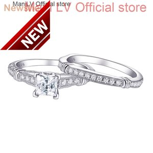 Newshe Vintage 1Ct White Princess Cut AAA CZ 925 Sterling Silver Wedding Ring Engagement Band Bridal Jewelry For Women 1R0029