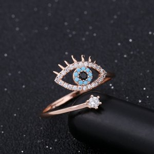 Adjustable Ring for Women Rose Gold color Blue Crystal Evil eye Wedding Jewelry Girls Party Bague Trendy Fashion Rings 1064 Q2