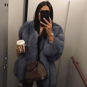 Elegant Faux Fur Coat For Women 2021 Winter Thick Warm Fluffy Fake Fur Jacket Outerwear Pink White Plush Coat Party Overcoat