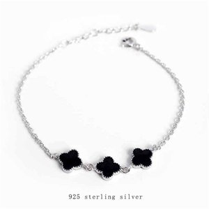 S925 silver drop glaze black clover Bracelet Korean chic simple temperament women's hand fashion jewelryYU6Q