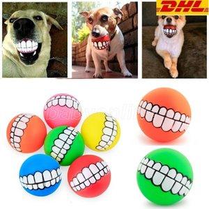 Dhl free lustige haustiere hund welpen katze kugel zähne spielzeug pvc kauen sound hunde spielen abholung quietschen spielzeug haustier liefert welpen ball zähne silikon spielzeug