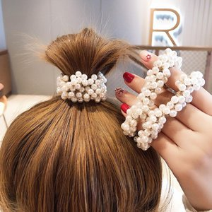 Fashion Girls Elegant Colorful Faux Pearl Beads Tie Elastic Hair Bands Rope Scrunchie Holder Accessories For Women Clips & Barrette Barrette