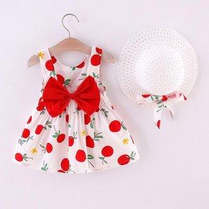 Девушка платья 2 шт. Детские летние набор корейских милых повседневных малышей детские девочки без рукавов апельсины печать принцессы платье шляпные наряды