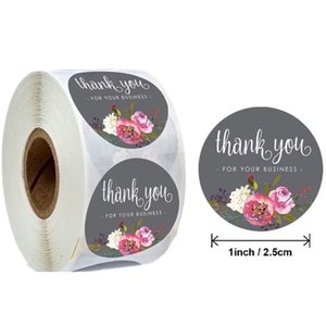 1 inch Floral Thank You Stickers Thankyou for Your Business Coated Paper Seal Label Sticker Handmade Craft Envelope Invitation Card
