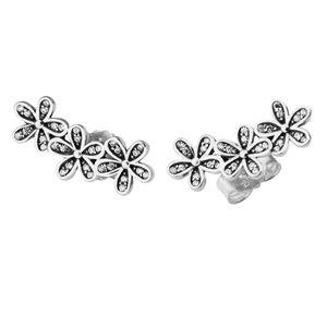 Dazzling Daisies Clear CZ Earrings Flower Original 925 Sterling silver jewelry European Style Earrings Studs For Woman Jewelry Finding