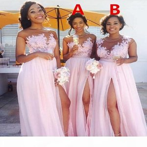 Country Blush Pink Bridesmaid Dresses 2019 Sexy Sheer Jewel Neck Lace Applique Maid of Honor Dress Split Formal Evening Gowns Wear