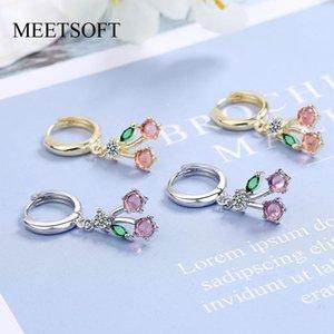 Hoop & Huggie MEETSOFT Trendy 925 Sterling Silver Sweet Cherry Zircon14K Gold Earrings Buckle For Women Lovely Fine Jewelry Drop