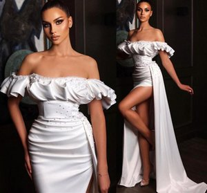 Modest Bateau Neck Beaded Ruched Wedding Dresses Side Split Sexy Gowns for Bride Zipper Back Robe De Soiree