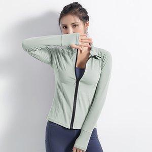 Lulu Legging Tarzı Avrupa ve Amerikan Fermuar Hırka Uzun Kollu Ceket Stand-up Yaka Slim Fit Ince Yoga Giyim Womens Çalışan Hızlı-Dr