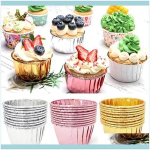 Formen Backformen Küche, Essbar Home Garden50pcs Papier Öldicht Cupcake Liner Backbecher Fachkoffer Hochzeit Party Cafissettes Golden MUF