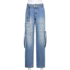 Jeans Women Sexy Belt Drawstring Retro Pants Wide Leg Mom Femme Pantalones Spodnie Damskie Traf Women's