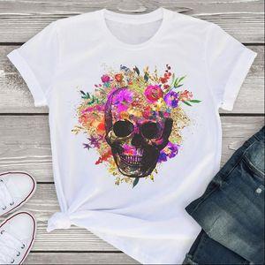 Women Graphic Short Sleeve T Shirts Watercolor Skull Horror Print Fashion Summer Shirt Tees Clothing Tops Female