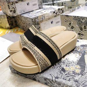 Summer Mules Wedge Heel Sandals Blue Oblique Embroidered Cotton Platform Oblique Jacquard Real Leather Luxury Women Shoes size 35-40