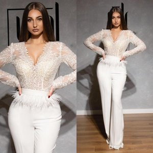 White 2021 Lace Jumpsuits Prom Dresses V Neck Long Sleeve Feather Dubai Arabic Satin Celebrity Evening Gowns Pantsuits Formal Pageant Dress