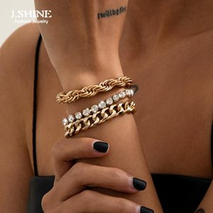 J.Shine 3Pcs Set Luxury Iced Out Chain Rhinestone Bracelet Set Bangle For Wome Punk Adjustable Clear Twist Link Chains Charm Bracelets