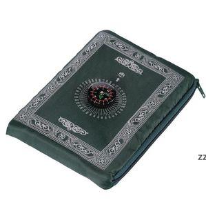 Islamic Prayer Rug Portable Braided Carpets Mat Zipper Compass Blankets Travel Pocket Rugs Muslim Worship Blanket Ocean freight HWE7208