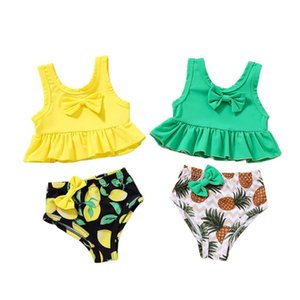 Baby Girls Split Swimsuit Set With Bow-knot, Solid Color Ruffle Hem Tops + Fruit Print Panties One-Pieces