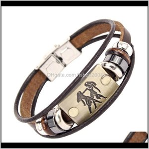 12 Constell Horscope Charm Bracelet Id Tag Leather Multilayer Wrap Bracelets Bangle Cuff Fashion Jewelry Will And Sandy Gift Tisin 95Fje