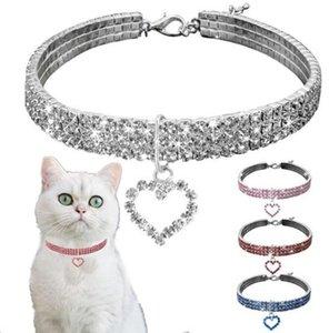 Bling Crystal Diamond Dog Holog Pook Pet Bey Full Hrinestone Сплошное ожерелье Размер для небольших средних собак Очастотевары для домашних животных DHL