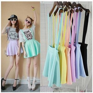 Summer Tee Candy Korean Academy Ice Cream Color Base Strap Skirt