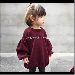 Рубашки слоеного рукава девушки одежда весна осень детей младенческие блузки сплошные цвета дети пуловер комфортное приедание 17tn g2 lcs6w qajeb