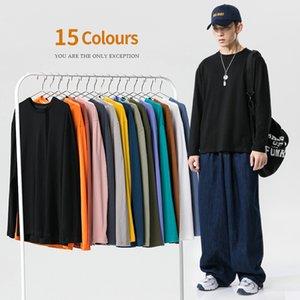 Men's Pure Color Cotton Couple's Summer Wear Loose Men's Multicolor Long Sleeve Bottomed Shirt T-shirt for Young Men