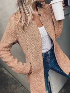 Women's Suits & Blazers Long Sleeve Collarless Handsome Gray Blazer Elegant Slim Medium And Buttonless Pocket Office Jacket Coat Autumn Wint