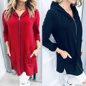 Women Warm Zipper Hooded Long Jacket Coat Letter Splice Pockets Jacket Autumn Elegant Woman Long Sleeve Casual Black Red Outwear