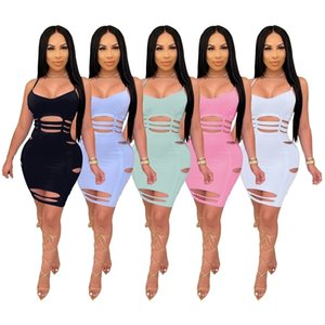 Womens Mini Dress Plus Size Clothing Summer Solid Color Sling Burnt Ribbon Sexy Nightclub Skirt