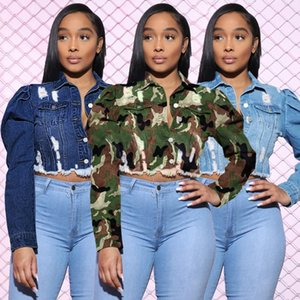 Women's Jackets European And American Spring Summer Fashion Personality Long-sleeved Camouflage Frayed Short Denim Jacket Women