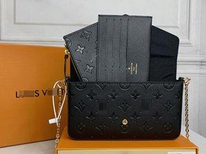 "GG""LV""Louis…Bag Vitton""YSL…favorite multi pochette felicie accessories handbag genuine leather shoulder crossbody bag purses 3 pcs purse bags"