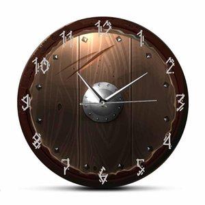 Barbarian Shield Indoor Silent Movement Wall Clock Cave Home Decor 3D Vision Hanging Wall Watch Viking Barbarian Medieval Man