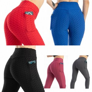 Women's High Waist Yoga Butt Lift Leggings Bubble Pants with Pockets Tummy Control Slimming Textured Booty Running Workout Ruched H3bb#