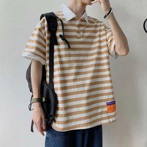 Men's T-Shirts Striped T-Shirt Men 2021 Summer Korean Version Loose Trend Harajuku Vintage Style Clothing Hip-Hop All-Match Streetwear