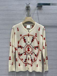 2021 Милан взлетно-посадочной полосы свитер на шеи с длинным рукавом женские свитеры высокого класса Жаккардовый кардиган женский дизайнерский свитер 0416-4