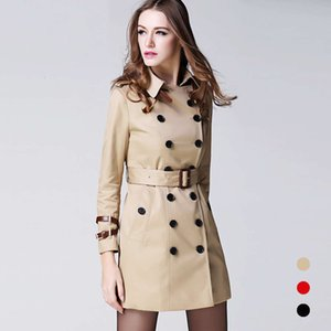 2020 Autumn Winter Clothing Solid Color Lady Long Windbreak Double Breasted Slim Bur Women Trench Coat with Belt Outwear