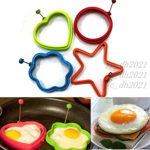 1PC Silicone Fried Egg Mold Pancake Rings Non-stick Kitchen Egg Cooking Tools Stars Heart Round Flower Shape Egg Mold Free DHL