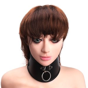 Adult sexy leather goods role play black beauty neck guard dog slave adjust collar accessories collar wholesale Y0406