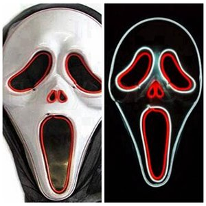 LED Luminous Screaming Ghost EL Wired Glowing Skull Mask for Halloween Horror Party Costumes accessories Creative Scary Mask RRA4356